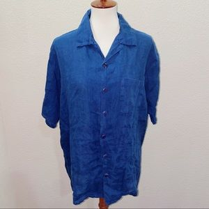 Flax Linen Short Sleeve Button Down Size Small